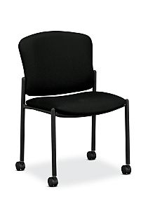 HON Pagoda Stacking Guest Chair Tectonic Black Armless Caster Front Side View H4077.H.NT10.T
