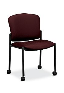 HON Pagoda Stacking Guest Chair Tectonic Wine Armless Caster Front Side View H4077.H.NT69.T