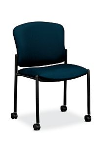 HON Pagoda Stacking Guest Chair Tectonic Mariner Armless Caster Front Side View H4077.H.NT90.T