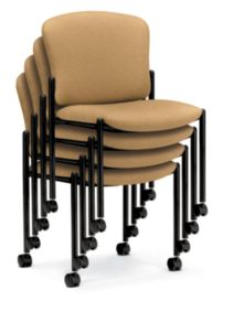 HON Pagoda Stacking Guest Chairs Tan Armless Caster Front Side View H4077.LS72.T