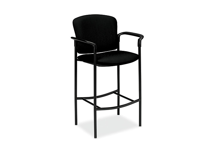 HON Pagoda Stool Tectonic Black Cafe Height Front Side View H4079.NT10.T