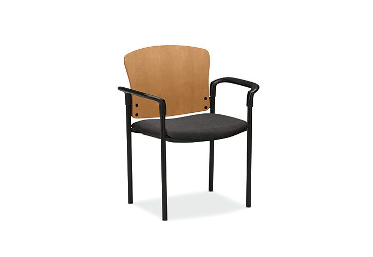 HON Pagoda Stacking Guest Chair Confetti Gray Wood Back Arm Front Side View H4091.C.AB12.T