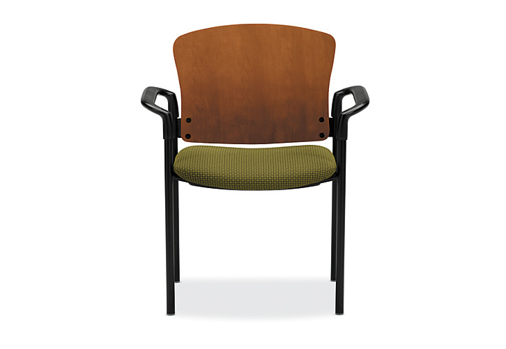 HON Pagoda Stacking Guest Chair Green Wood Back Arm Front View H4091.H.IP40.T