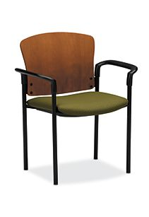 HON Pagoda Stacking Guest Chair Green Wood Back Arm Front Side View H4091.H.IP40.T