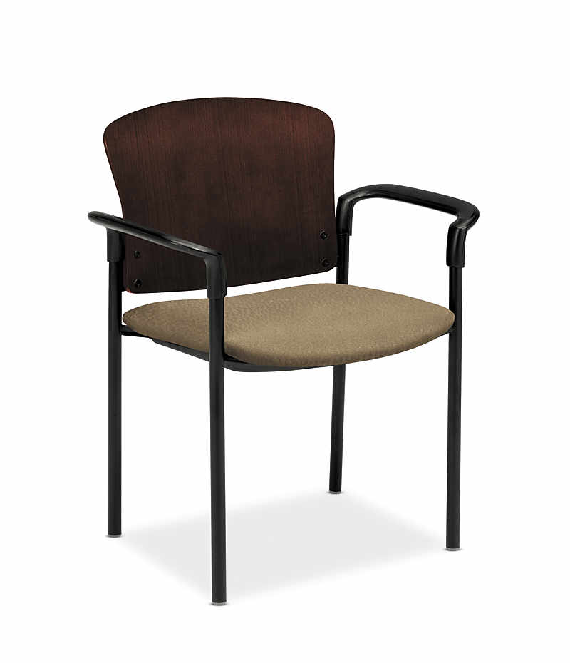 HON Pagoda Stacking Guest Chair Tectonic Taupe Wood Back Arm Front Side View H4091.N.NT26.T
