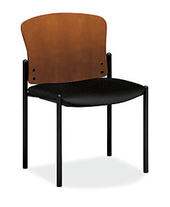 HON Pagoda Stacking Guest Chair Tectonic Black Armless Wood Back Front Side View H4093.H.NT10.T