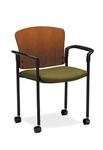 HON Pagoda Stacking Guest Chair Green Wood Back Caster Front Side View H4095.H.IP40.T