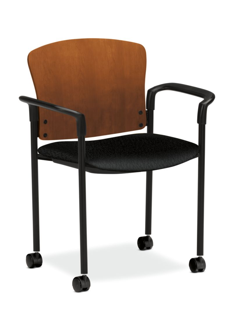 HON Pagoda Stacking Guest Chair Tectonic Black Arm Wood Back Caster Front Side View H4095.H.NT10.T