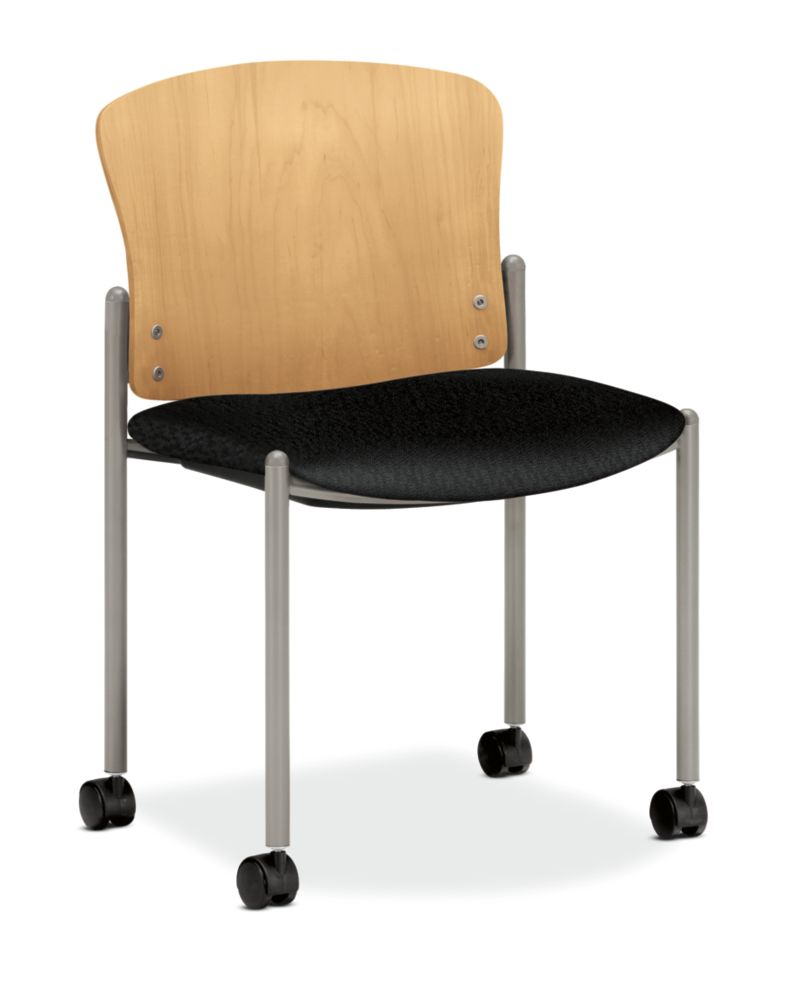HON Pagoda Stacking Guest Chair Tectonic Black Armless Wood Back Caster Front Side View H4097.D.NT10.T1
