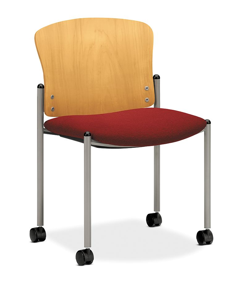 HON Pagoda Stacking Guest Chair Red Armless Wood Back Caster Front Side View H4097.D.OM12.T1