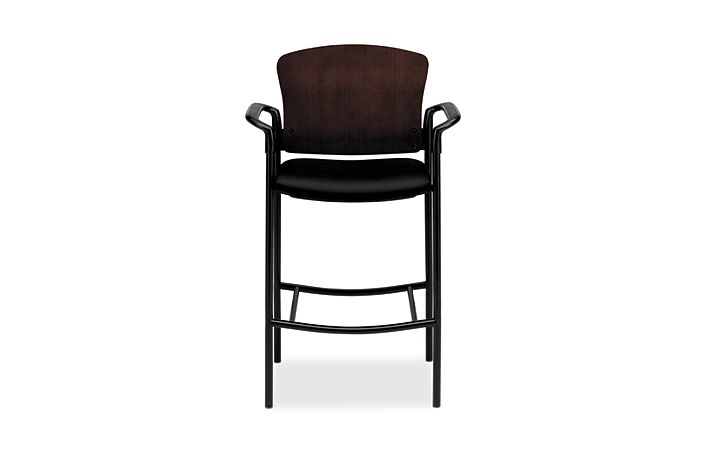 HON Pagoda Stool Tectonic Black Wood Back Cafe Height Front View H4099.C.NT10.T