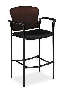 HON Pagoda Stool Tectonic Black Wood Back Cafe Height Front Side View H4099.N.NT10.T