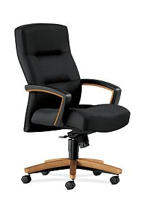 HON ParkAvenue High-Back Chair Tectonic Black Harvest Finish Front Side View H5001.C.NT10