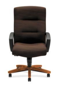 HON ParkAvenue High-Back Chair Brown Bourbon Cherry Finish Front View H5001.H.FO08