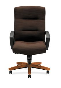 HON ParkAvenue High-Back Chair Brown Bourbon Cherry Finish Front View H5001.H.FO08