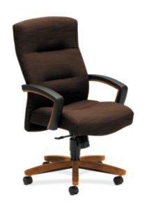 HON ParkAvenue High-Back Chair Brown Bourbon Cherry Finish Front Side View H5001.H.FO08