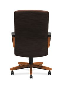 HON ParkAvenue High-Back Chair Brown Bourbon Cherry Finish Back View H5001.H.FO08