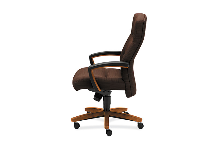 HON ParkAvenue High-Back Chair Brown Bourbon Cherry Finish Side View H5001.H.FO08