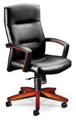 HON ParkAvenue High-Back Chair Sierra Vinyl Black Front Side View H5001.J.EE11