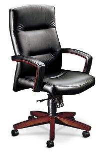 HON ParkAvenue High-Back Chair Sierra Vinyl Black Mahogany Finish Front Side View H5001.N.EE11