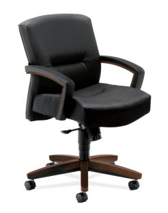 HON Park Avenue Mid-Back Chair Black Leather Front Side View H5002.Z.SS11