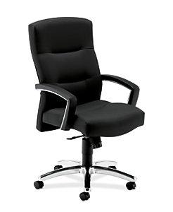 HON ParkAvenue High-Back Chair Centurion Black Hard Caster Front Side View H5021.H.CU10
