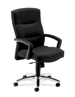 HON ParkAvenue High-Back Chair Centurion Black Hard Caster Front Side View H5021.H.CU10