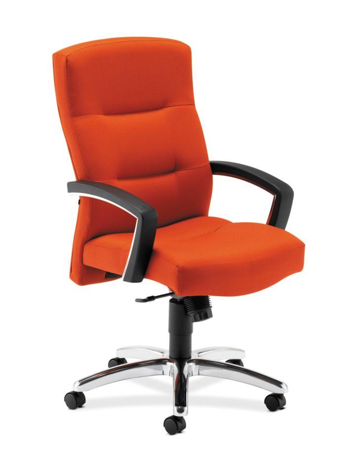 HON ParkAvenue High-Back Chair Centurion Tangerine Hard Caster Front Side View H5021.H.CU46