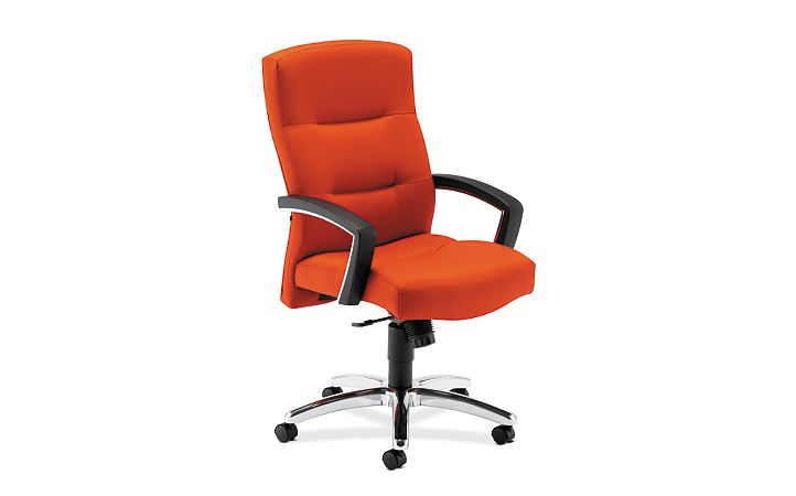HON ParkAvenue High-Back Chair Centurion Tangerine Hard Caster Front Side View H5021.H.CU46