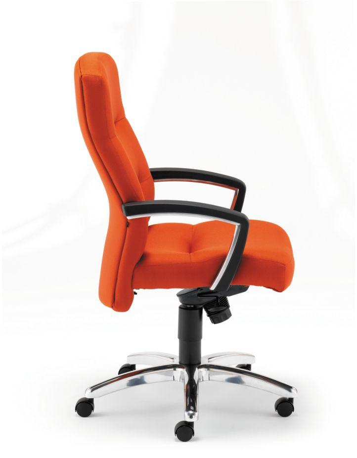 HON ParkAvenue High-Back Chair Centurion Tangerine Hard Caster Side View H5021.H.CU46
