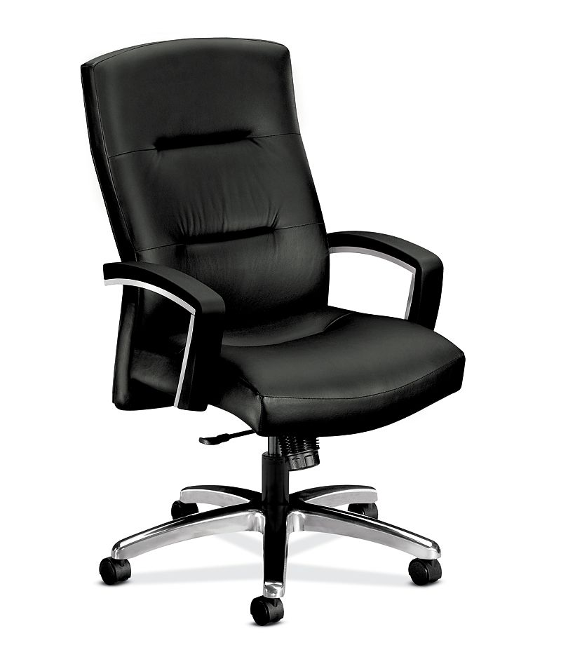 HON ParkAvenue High-Back Chair Black Leather Hard Caster Front Side View H5021.H.SS11