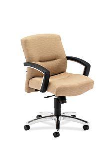 HON ParkAvenue Mid-Back Chair Esplande Khaki Hard Caster Front Side View H5022.H.PE.26