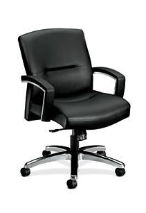 HON ParkAvenue Mid-Back Chair Black Leather Hard Caster Front Side View H5022.H.SS11