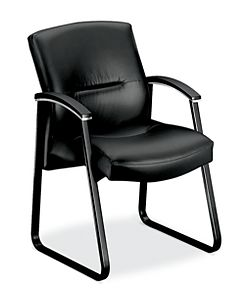 HON ParkAvenue Guest Chair Black Leather Front Side View H5023.SS11