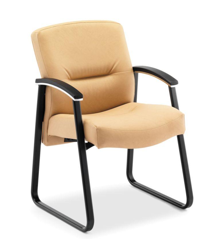 HON ParkAvenue Guest Chair Vinyl Camel Front Side View H5023.WP18.T