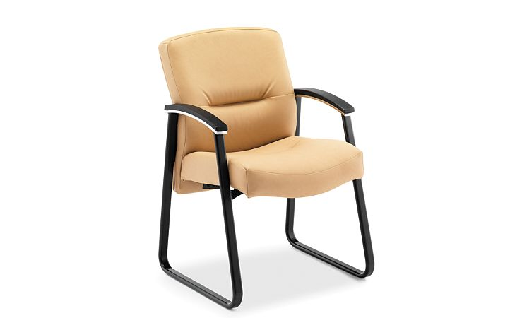 HON ParkAvenue Guest Chair Vinyl Camel Front Side View H5023.WP18.T