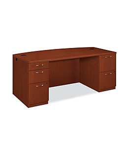 HON Park Avenue Double Pedestal Desk Brown Color Front Side View HPC023D.V.J.JJ