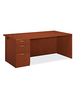 HON Park Avenue Laminate Series Left Pedestal Desk Brown Color Front Side View HPC027L.V.J.JJ