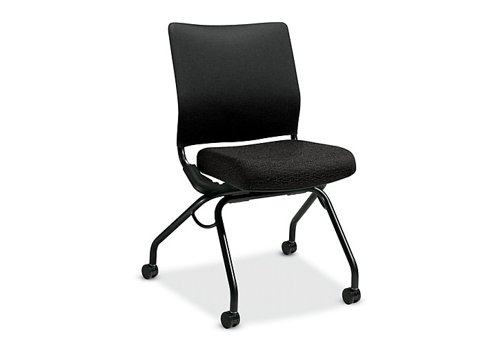 HON Perpetual Nesting Chair Black Flex-Back Armless Front Side View HPN1.A.RB.BW19.T