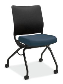 HON Perpetual Nesting Chair Centurion Cerulean Flex-Back Armless Front Side View HPN1.A.RB.CU90.T
