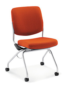 HON Perpetual Nesting Chair Orange Flex-Back Armless Front Side View HPN1.A.UU.QD42.T1