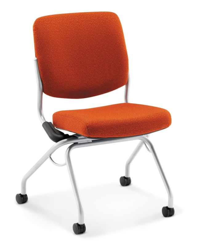 HON Perpetual Nesting Chair Orange Flex Back Armless Front Side View HPN1.A.