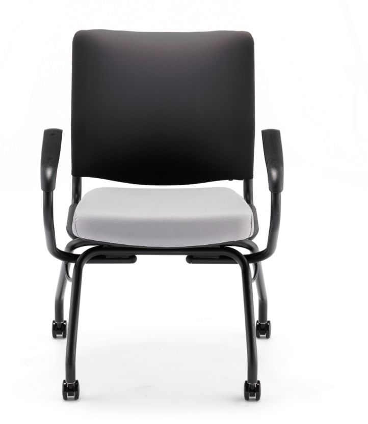 HON Perpetual Nesting Chair Gray Fixed Arms Front View HPN2.A.RB.CU22.T