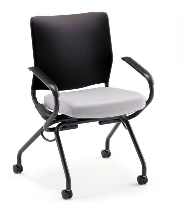 HON Perpetual Nesting Chair Gray Fixed Arms Front Side View HPN2.A.RB.CU22.T