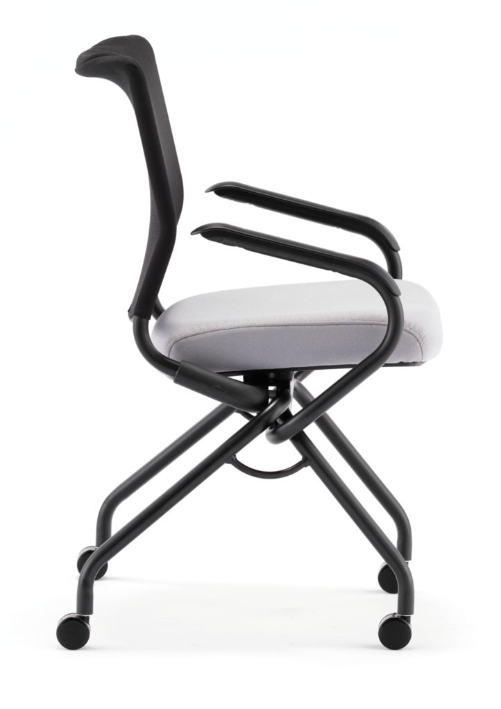 HON Perpetual Nesting Chair Gray Fixed Arms Side View HPN2.A.RB.CU22.T