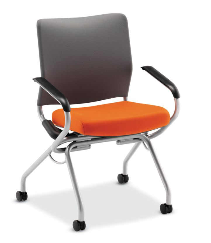 HON Perpetual Nesting Chair Orange Fixed Arms Front View HPN2.A.RG.CU46.C