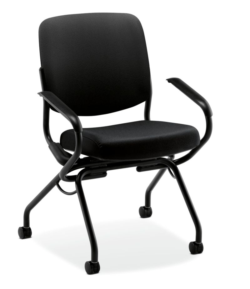 HON Perpetual Nesting Chair Black Fixed Arms Front View HPN2.A.UU.CU10.T