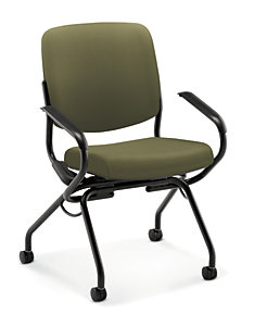 HON Perpetual Nesting Chair Green Fixed Arms Front View HPN2.A.UU.CU82.T