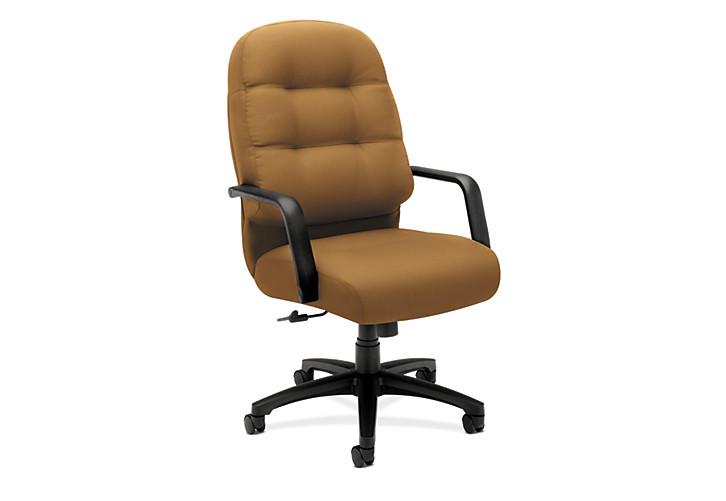 HON PillowSoft Executive High-Back Chair Centurion Caramel Front Side View H2091.H.CU26.T