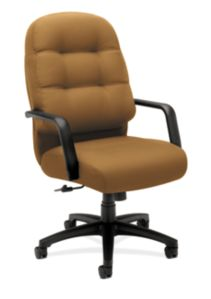 HON PillowSoft Executive High-Back Chair Centurion Caramel Front Side View H2091.H.CU26.T